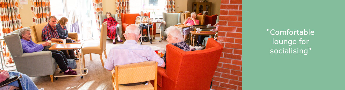 Care home lounge with residents